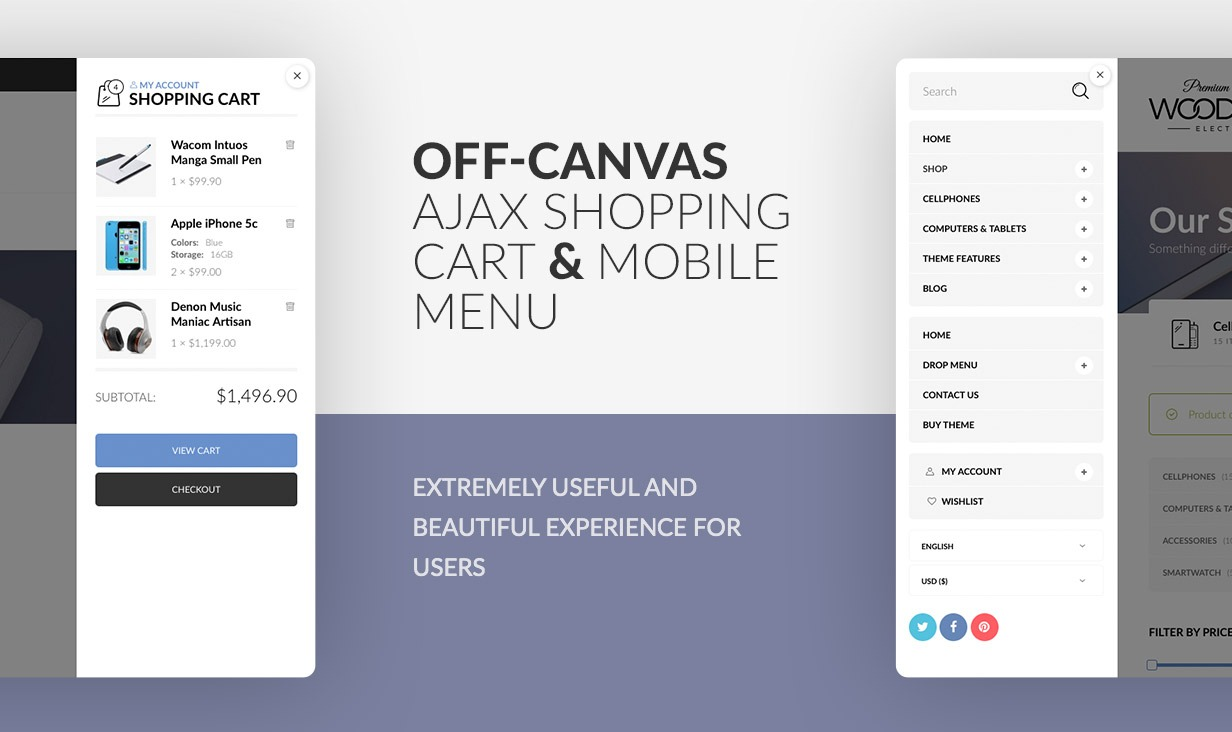 Off Canvas Ajax Shopping Cart & Mobile Menu